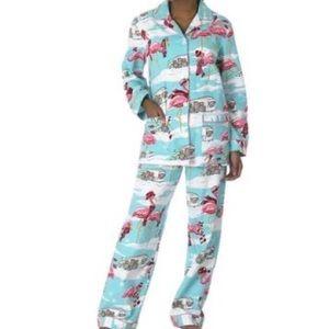 Nick & Nora Flamingo Airstream Flannel Pajamas Med